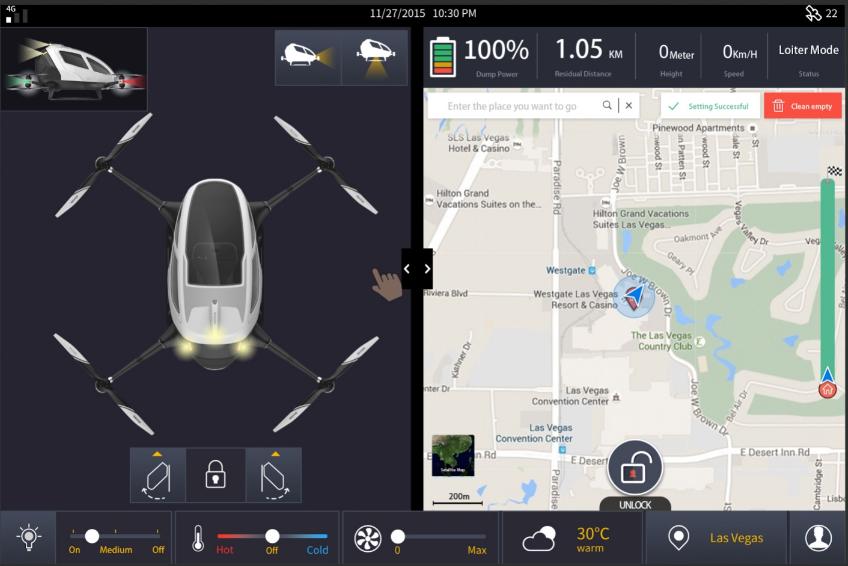 écran de contrôle du EHANG 184 voiture volante