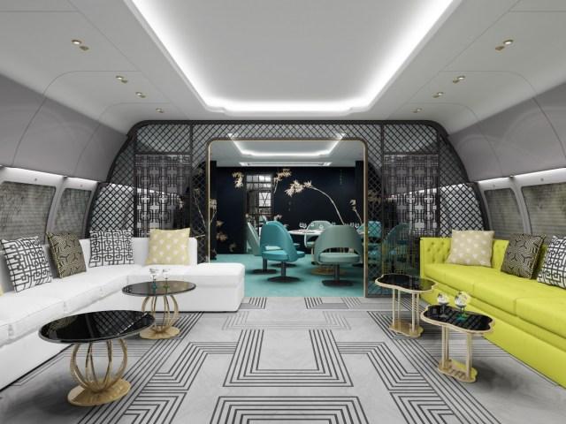 Salle de détente dans un jet privé