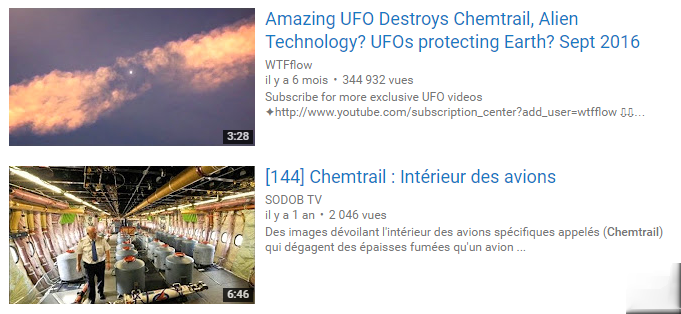 Chemtrails sur YouTube