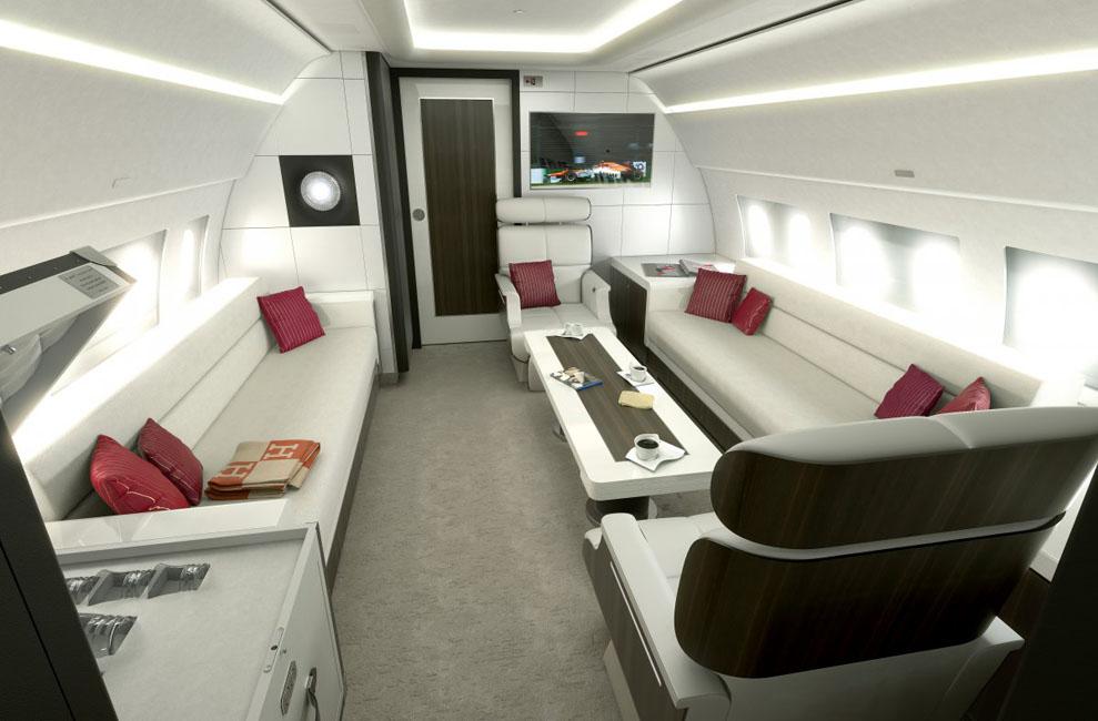 Airbus ACJ319 peut transporter huit personnes et a la cabine plus haute et large des tous les jets privés intercontinentaux