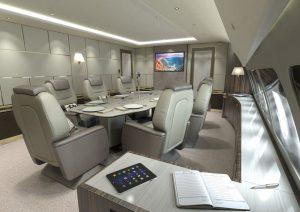Airbus VIP version widebody a aussi une salle de conférence ou à manger