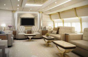 Boeing 747-81 VIP - avec ses 444 m², il a un magnifique living, des énormes salles à manger et une zone de bureau
