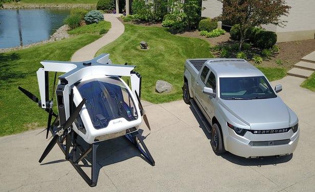 Le Workhorse Surefly, voiture volante, avec ses hélices repliées