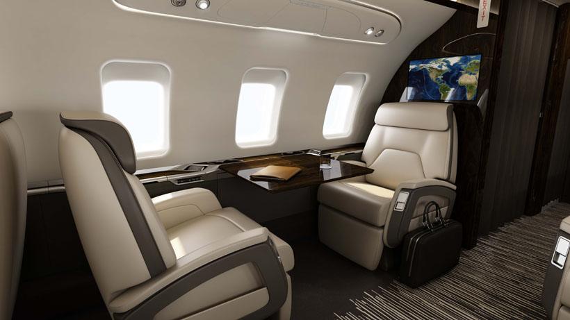 sièges antérieurs du Bombardier Challenger 650 - photo courtoisie de Bombardier