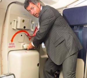 sortie d'émergence sur avion