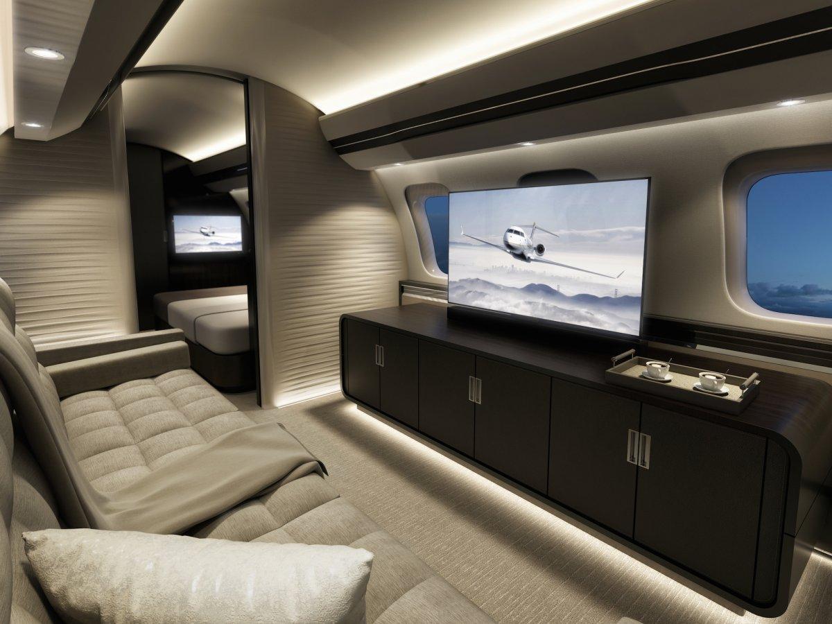 Jet privé Bombardier Global 7000 - intérieur avec écrans