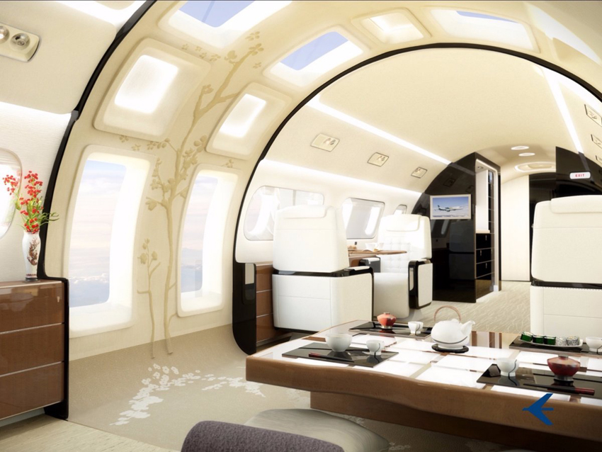 Embraer Lineage 1000E -Jay Beever, le chef designer, peut offrir de personnalisation comme ce Kyoto Airship