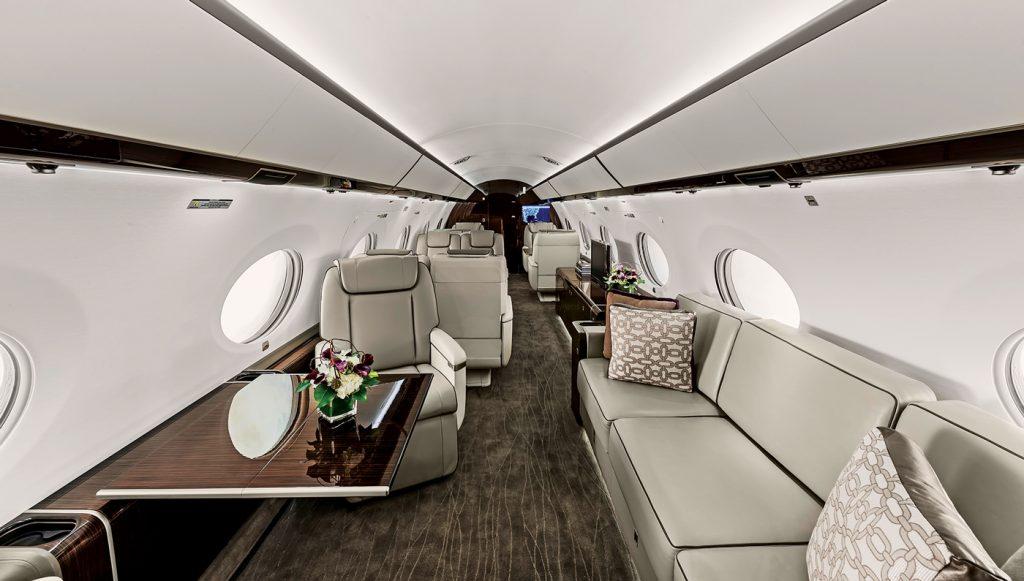 Les sièges d'un jet privé, le Gulfstream G650ER