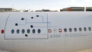 Test acoustique de vol avec un A350