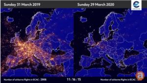 Effondrement du trafic aérien européen en mars 2020 par rapport à mars 2019
